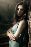 Beautiful girl in fairy forest. Dark background Stock Images