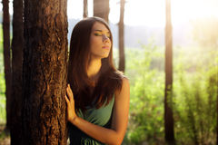 Beautiful girl in fairy forest Royalty Free Stock Image