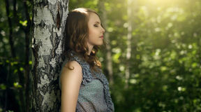 Beautiful girl in fairy forest Royalty Free Stock Photos