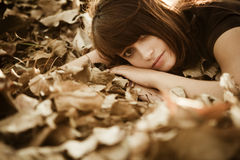 Beautiful girl on fall Stock Image