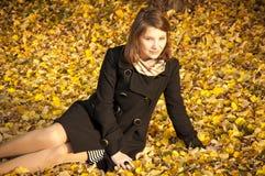 Beautiful girl on fallen yellow leaves stock photo