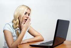 Beautiful girl falls asleep at the computer Stock Photography