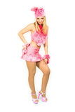 The beautiful girl in a fancy dress. The beautiful girl in pink fancy dress of a hare Stock Images