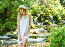 beautiful girl, fantastic river stream stock photos