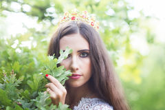 Beautiful girl. fantasy young woman in woods Stock Photos