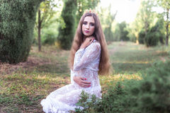 Beautiful girl. fantasy young woman in woods Royalty Free Stock Images