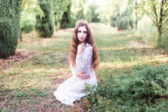 Beautiful girl. fantasy young woman in woods Royalty Free Stock Photo