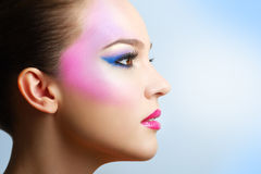 Beautiful girl with fashion bright makeup Royalty Free Stock Photos