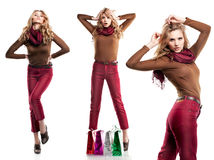 Beautiful girl is in fashion style. Professional makeup and hair Royalty Free Stock Photography