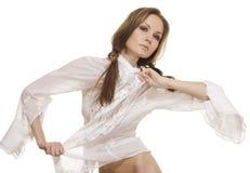 Beautiful girl in fashionable white shirt stock photos