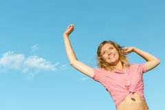Beautiful girl feels free Royalty Free Stock Photography