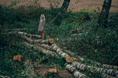 Beautiful girl in the felled forest Stock Images