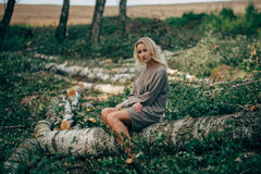 Beautiful girl in the felled forest Stock Photos