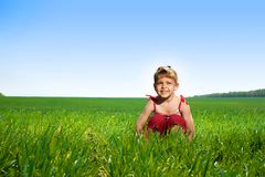 Beautiful girl in field Stock Images