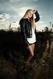 Beautiful girl in field Stock Photo