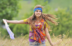 Beautiful girl in a field Stock Images