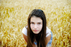 Beautiful girl in a field. On a background of golden wheat ears Royalty Free Stock Photo