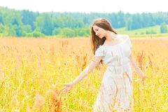 Beautiful  girl in a field with gold ears of wheat Royalty Free Stock Photos