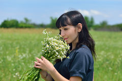The beautiful girl in the field smells a bouquet of camomiles Royalty Free Stock Photography