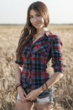 Beautiful girl field. Summer in nature. Happy smiling looking in frame. In the evening shirt a brunette woman, a close Royalty Free Stock Images