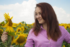 Beautiful girl. In a field of sunflowers Royalty Free Stock Image