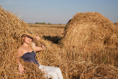 The beautiful girl in the field with wheat Royalty Free Stock Photo