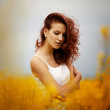 Beautiful girl in the field Royalty Free Stock Photos