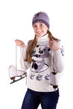 Beautiful girl with figure skates Royalty Free Stock Photography