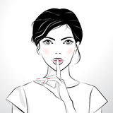 Beautiful girl with finger on her lips. Vector illustration of the beautiful girl with finger on her lip Stock Photo
