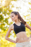 The beautiful girl after fitness classes. Stock Images
