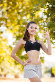 The beautiful girl after fitness classes. Stock Photo