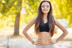 The beautiful girl after fitness classes. Stock Image