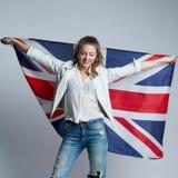 Beautiful girl with flag of Britain. Beautiful girl with the flag of Britain royalty free stock image