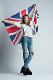 Beautiful girl with flag of Britain Stock Image