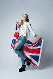 Beautiful girl with flag of Britain Stock Photography