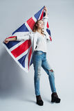 Beautiful girl with flag of Britain Stock Photos
