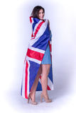 Beautiful girl with the flag of Britain Royalty Free Stock Image