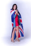 Beautiful girl with the flag of Britain Royalty Free Stock Photography