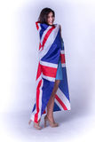 Beautiful girl with the flag of Britain Stock Image