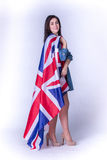 Beautiful girl with the flag of Britain Stock Photo