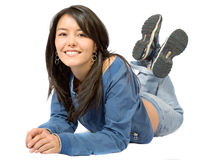 Beautiful girl on the floor Royalty Free Stock Photo