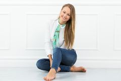 Beautiful girl on the floor Stock Image