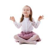 Beautiful Girl on Floor Meditating Royalty Free Stock Image