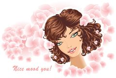 Beautiful Girl on floral background Royalty Free Stock Image