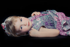 Beautiful girl in floral dress Stock Image