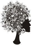Beautiful girl with floral hair. Vector  Stock Image