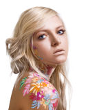 Beautiful girl with floral theme bodyart Royalty Free Stock Image