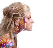 Beautiful girl with floral theme bodyart Royalty Free Stock Photos