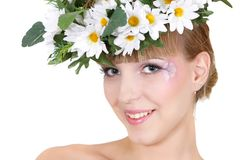 Beautiful girl in floral wreath Stock Photography