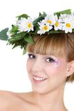 Beautiful girl in floral wreath Royalty Free Stock Photos
